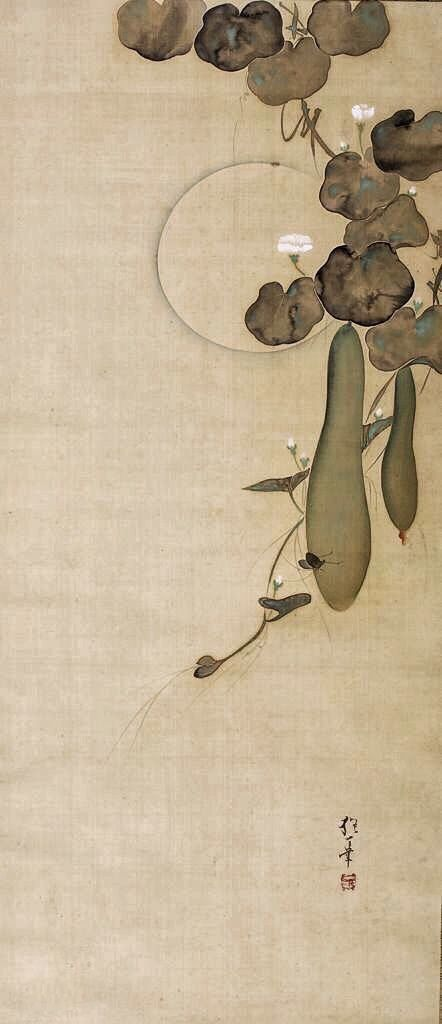 Moon, Gourds and Insects. Attributed to Sakai Hoitsu. 酒井抱一. Rinpa School Japanese hanging scroll. Early nineteenth century. Harvard Art Museums.