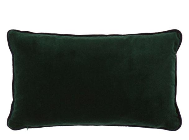 Mya katoenfluwelen kussen 30 x 50cm, smaragdgroen met marineblauwe biezen