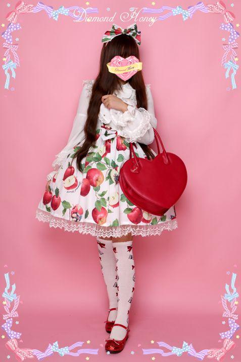 现货 苹果白雪姬 日本lolita童话甜美日常蕾丝公主原创印花连衣裙