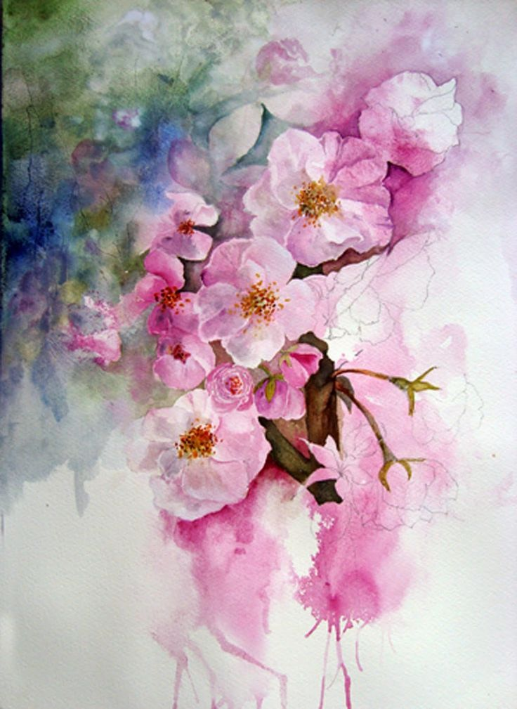 Watercolour Florals :: I like how a few flowers are left only with the pencil outline.