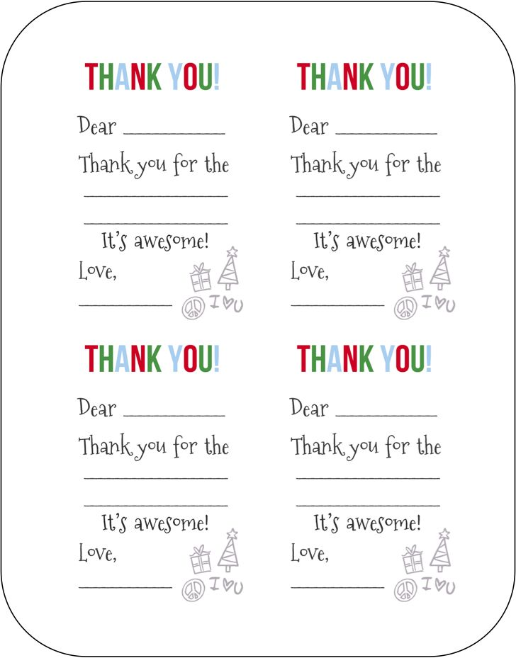 photo regarding Christmas Thank You Cards Printable Free named Small children Xmas Thank Oneself Playing cards] 3 No cost Printable Xmas