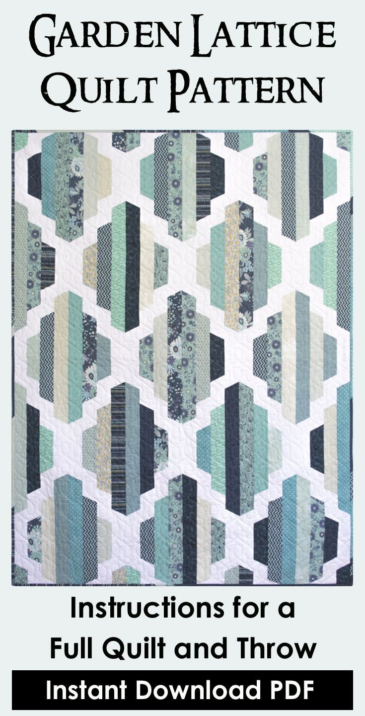 Garden Lattice Quilt pattern to download and print. Full size and