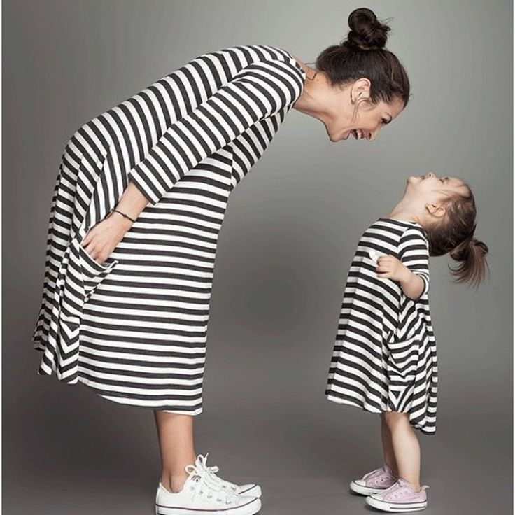 New Fashion Spring Autumn Girls Parent-Child Outfit Children Europe Style Stripe Dress Leisure Lovely Mother Kids Clothes DC059