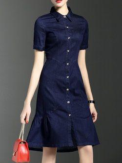 Blue Short Sleeve Plain Shirt Dress