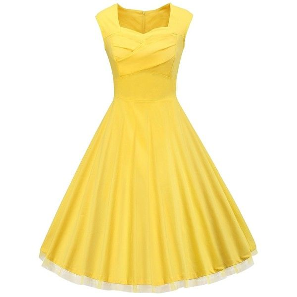 VOGVOG Women's 1950s Retro Vintage Cap Sleeve Party Swing Dress ❤ liked on Polyvore featuring dresses, vintage swing dresses, cocktail party dress, trapeze dresses, vintage retro dresses and swing dress