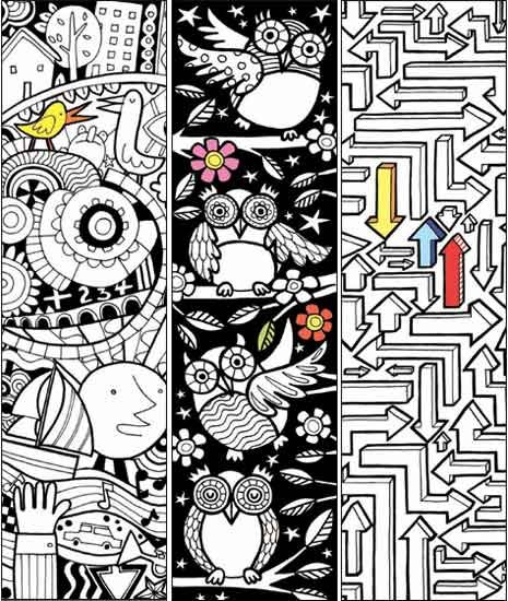 Free bookmarks to print and color! Some other great printables at this site.