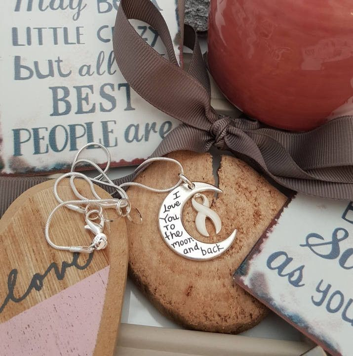 WH-2 Lung Cancer Awareness I Love You To The Moon and Back Necklace Gift For Her Lung Cancer Survivor Moon & Back Jewelry