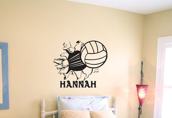 Volleyball Bursting Through Wall Vinyl Wall by imprintabledesignz, $15.99