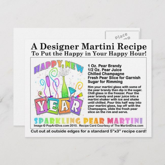 New Year's Sparkling Pear Martini Recipe Postcard