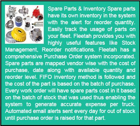 Spare Parts & Inventory - Easily track the usage of parts on your fleet