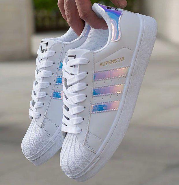 Tendance Sneakers : 'Adidas' Style Reflective Shell-toe Flats Sneakers Sport Footwear…