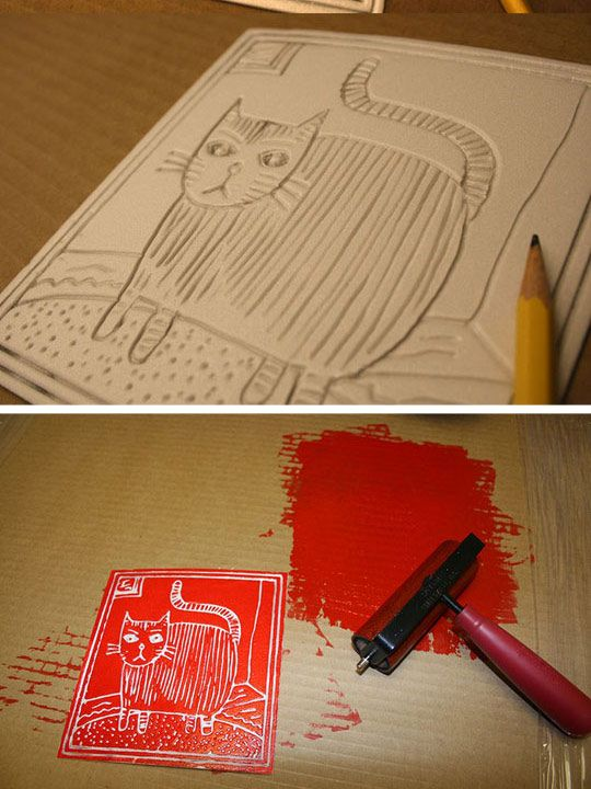 use styrofoam as a substitute for a linocut! make your own prints. would be practically free if you have old frames laying around that need new pictures on the inside! [just dont make a scary cat like this one]