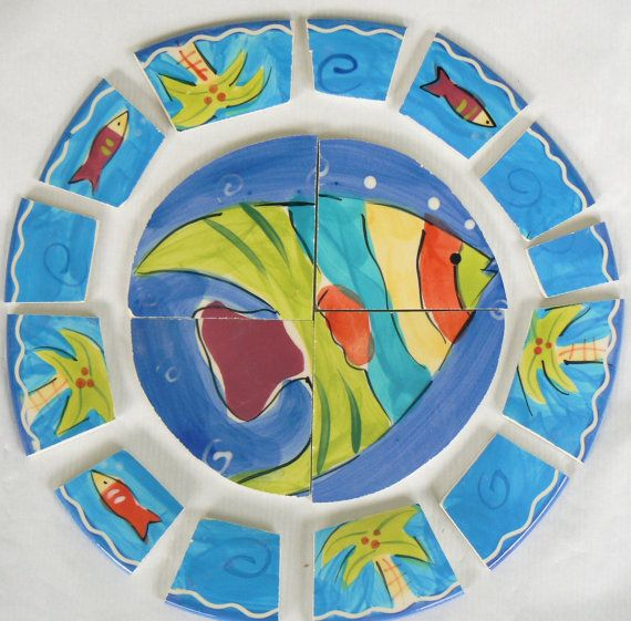 Broken China Mosaic Tiles Tropical Fish Supplies by PamelasPieces, $20.00