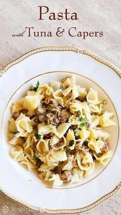 Pasta with Tuna and Capers in White Wine Sauce ~ Pasta served with a sauce made with oil-packed canned tuna, onions, capers, white wine, and parsley. ~ SimplyRecipes.com