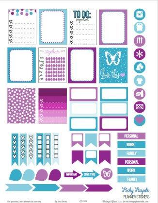 A set of purple and teal planner stickers for vertical weekly planners or for other papercrafts. Free for personal use only.