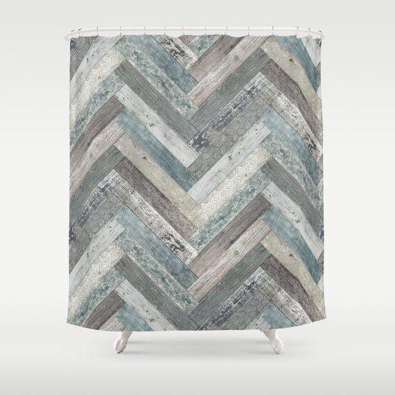 Vintage Wood Tiles Herringbone Shower Curtain 70 X Or 84 Retro Bath Duck Egg Blue Charcoal Grey Graphite Beige Off White Cream Taupe