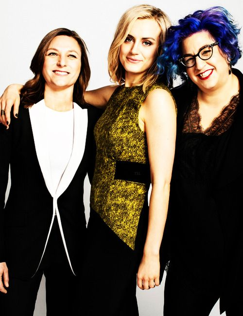 Cindy Holland, Taylor Schilling, and Jenji Kohan for Marie Claire.  Photo by Peter Yang.