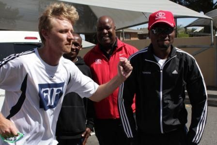 Craig Fry what are you doing here?   With Lucas (Chairman of ToyotaSA Athletics Club) Stephen Muzhingi and Kip (Kenya)