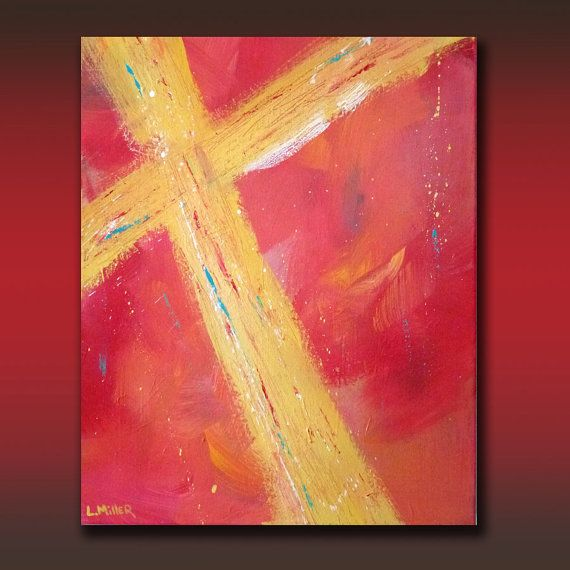 "Original Abstract Christian Fine Art Painting, 16 x 20 Acrylic Gallery Wrap Canvas "" Golden Cross"" by Linda Miller"