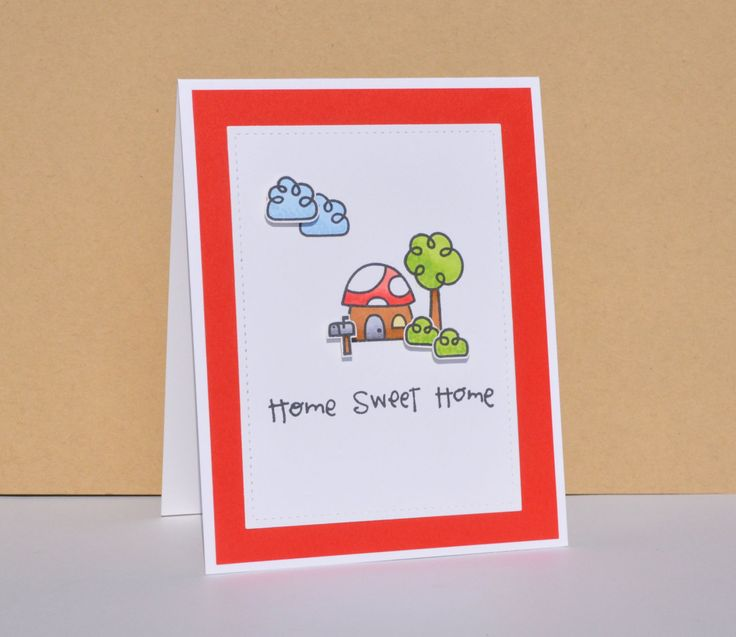Hand Stamped New Home Greeting Card // Housewarming Card // New Home Card // Happy New Home Card // Mushroom Card // Home Sweet Home Card by TiddleywinksDesigns on Etsy