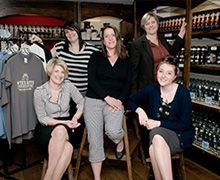 Our team in the Brewery Shop, Our brewery shop in Stoke Lacy stocks our full range of ales, plus a great range of Wye Valley Brewery-branded clothing and gifts. If you live in the area or are passing through, do drop by to say hello and pick up your favourite Wye Valley Brewery ales from the place they are brewed. If you're having a party, you can buy draught beer from us in 20-litre (36-pint) polypins.