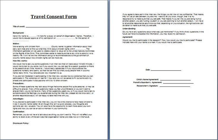 Travel Consent Form