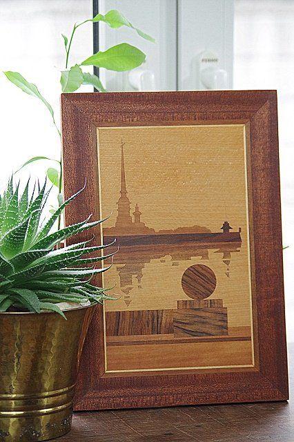 inkrustowany obraz drewniany