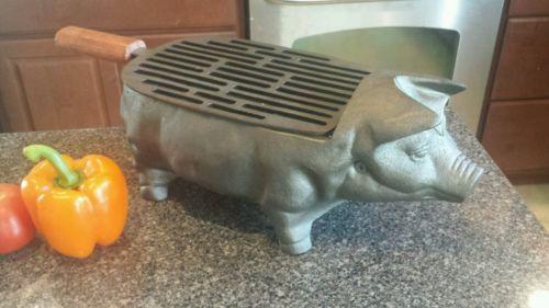 Cast-Iron-Pig-Piggy-Hog-Table-Top-Charcoal-Hibachi-BBQ-Grill-CRACKER-BARREL