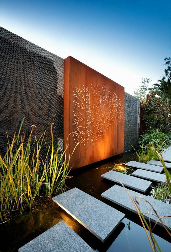 Examples of modern garden design of slabs of wood Deokration pond