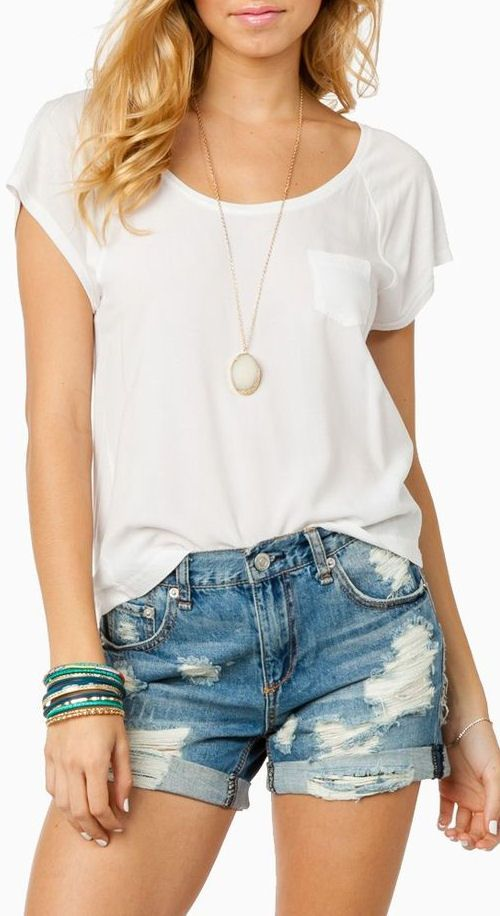 Boyfriend Shorts + White Tee // #comfy #cute #summer