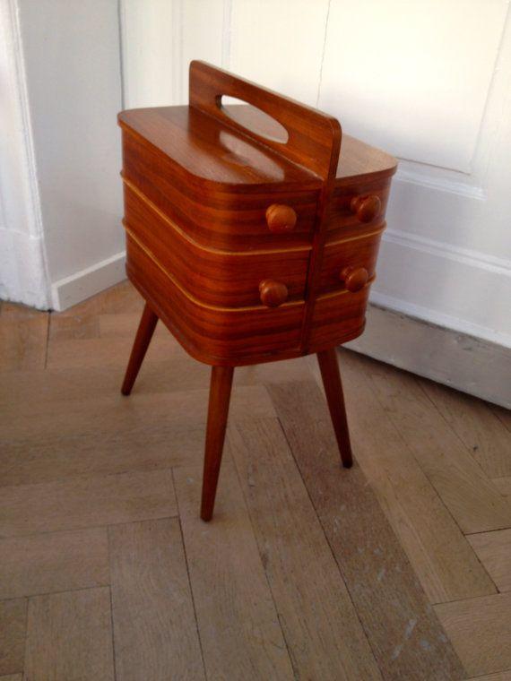 Danish modern organic Sewing box / Storage box / Workbox / Worktable / Sideboard 60s on Etsy, €270,00