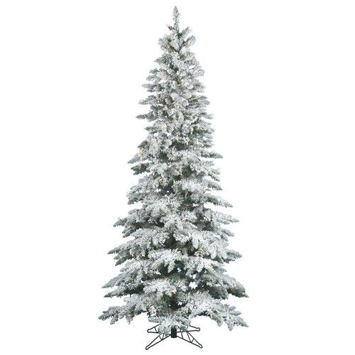 Found it at Wayfair - Flocked Utica Fir 7.5' White Artificial Christmas Tree with 360 LED Warm White Lights with Stand