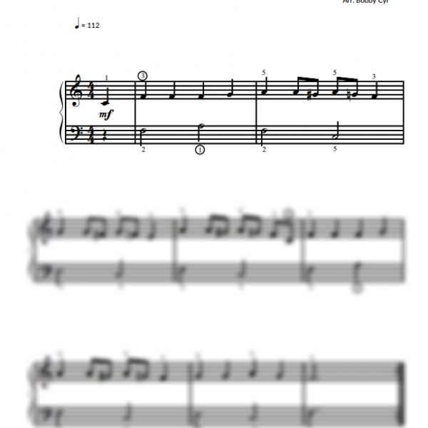 The Old Gray Mare - Easy Piano Sheet Music for Beginners / Piano Notion
