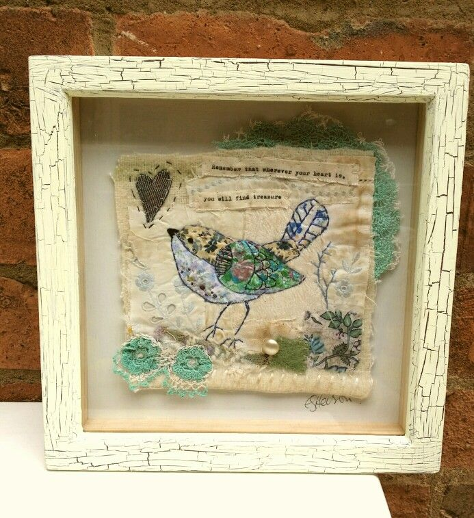 Emily henson vintage textiles art bird embroidery/appliqué with quote.  Mixed media.  www.facebook.com/bibliboo