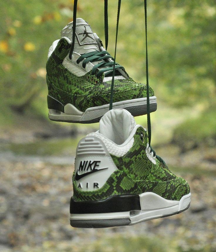 """Green Python"" Air Jordan 3 Retro Custom by JBF"