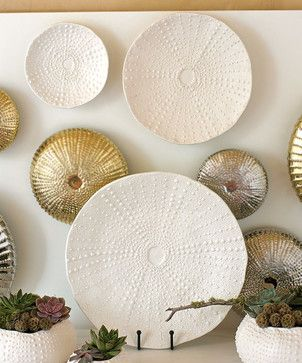 Ceramic Urchin Platter - Matte White transitional waste baskets