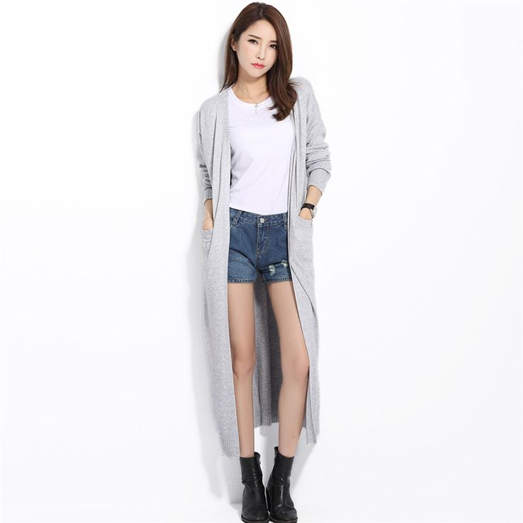 Long Cardigan Solid Cashmere V Neck Open Cardigan Mujer Casual Loose Design Candy Color Gray Maxi Cardigan-in Cardigans from Women's Clothing & Accessories on Aliexpress.com | Alibaba Group