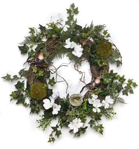 Dogwood & Ivy Wreath with Bird (28 Inches) $149.00
