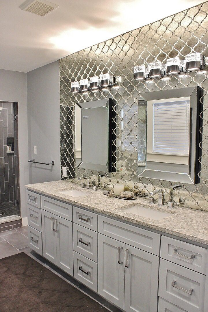 Antique Mirrored Arabesque Tile Wall In This Master Bath Mirror Tiles Bathroom Mirror Tile Backsplash Mirror Wall Bathroom