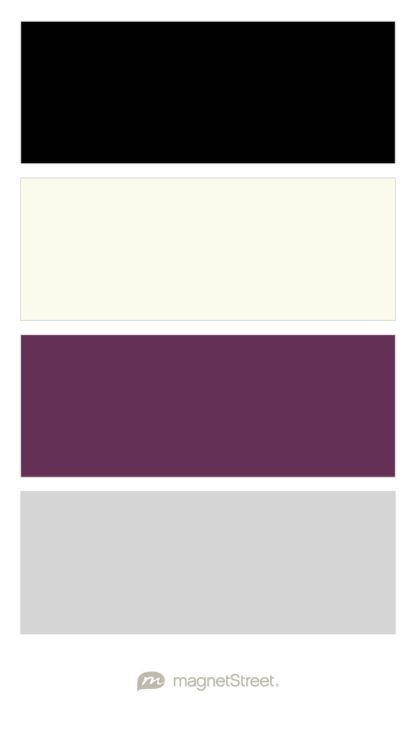 Black, Ivory, Eggplant, and Silver Wedding Color Palette - custom color palette created at MagnetStreet.com
