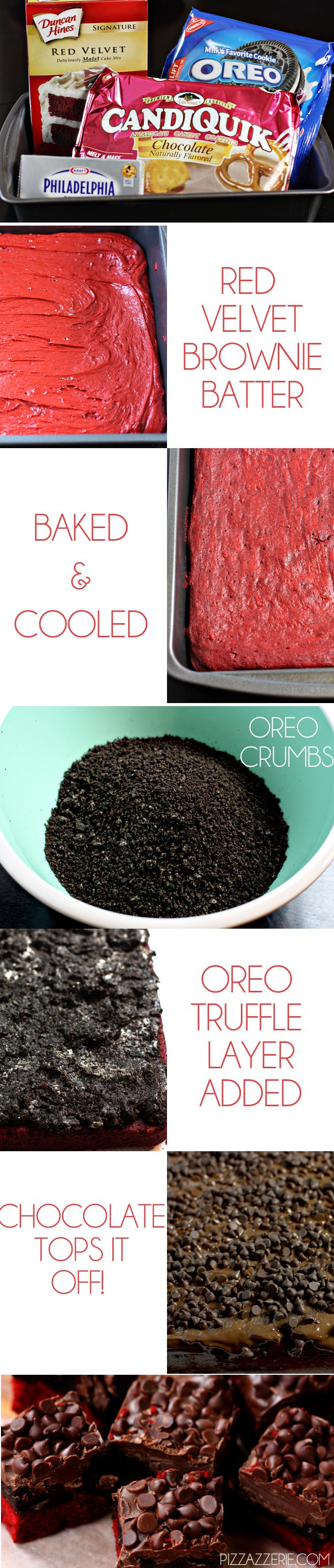 How to make Red Velvet Oreo Truffle Brownie Bars! THESE ARE SO GOOD! Won top chef at my work's potluck when I made them!