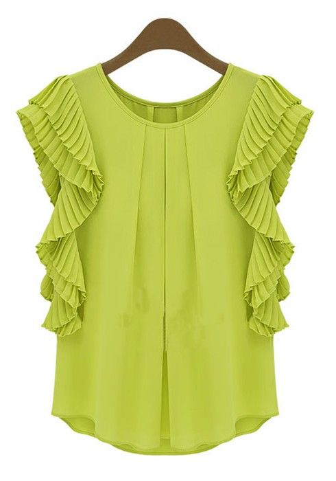 Green Ruffle Round Neck Loose Chiffon Blouse