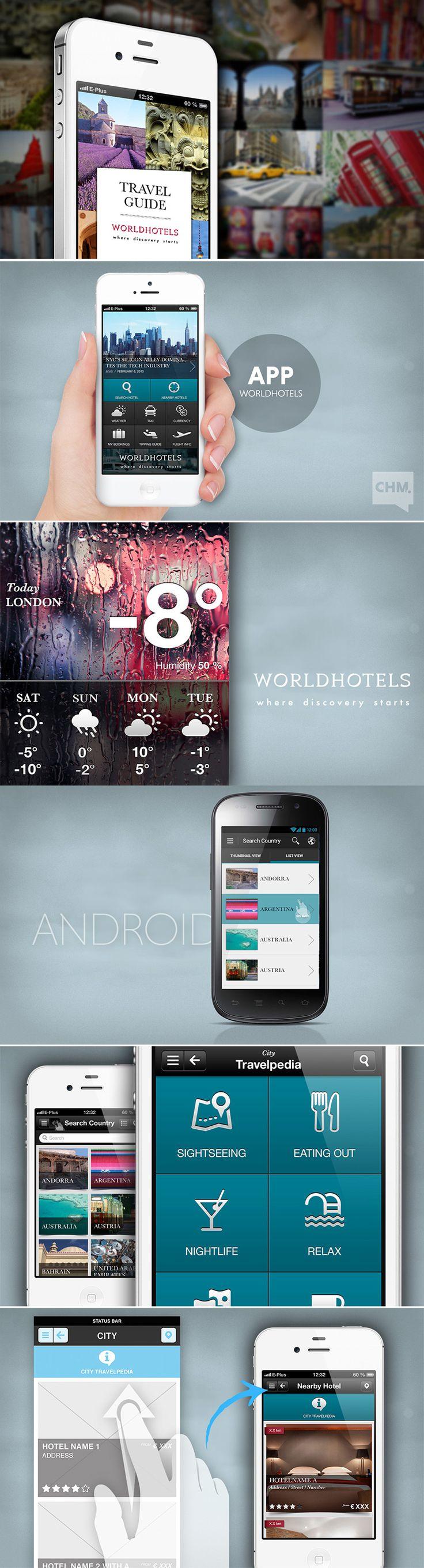 Der Travelguide für unterwegs  |  APP WORLDHOTELS  | https://itunes.apple.com/de/app/travel-guide-by-worldhotels/id673089717?mt=8  #app #screendesign