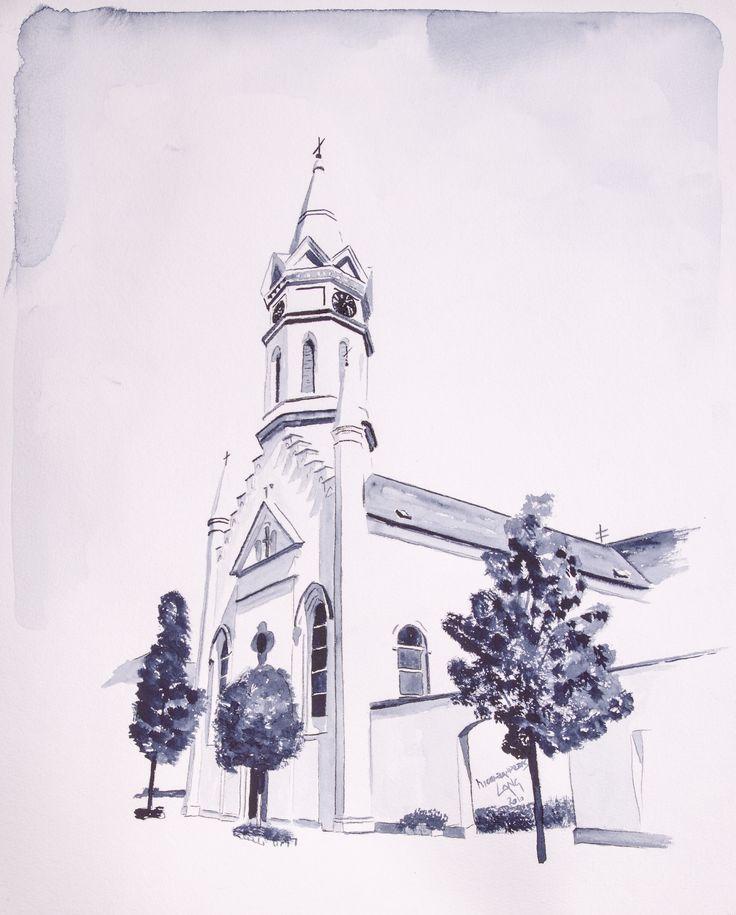 Prot. church Mörbisch Mainstreet Mörbisch Watercolor on paper 40x50cm