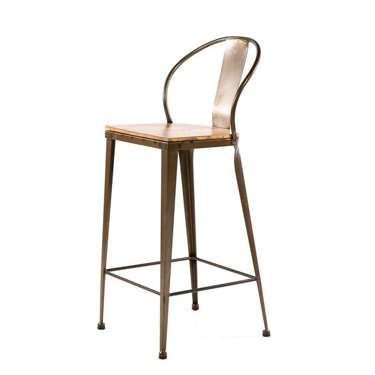 Tabouret industriel en métal et bois - TB 317 - 4 Pieds : tables, chaises et tabourets