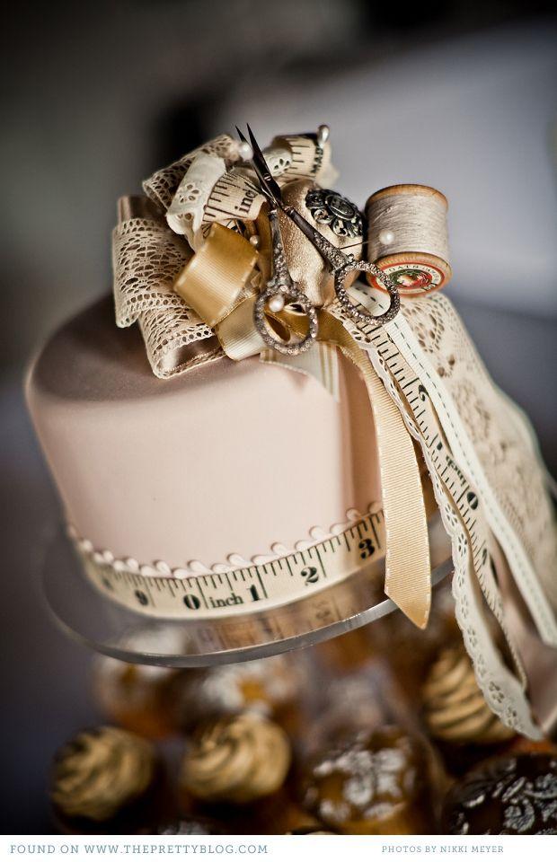 Cream needlework inspired cake