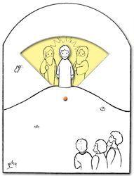 Knutselwerk: de verheerlijking op de berg. Jezus met Mozes en Elia. Gepind van samueladvies.nl