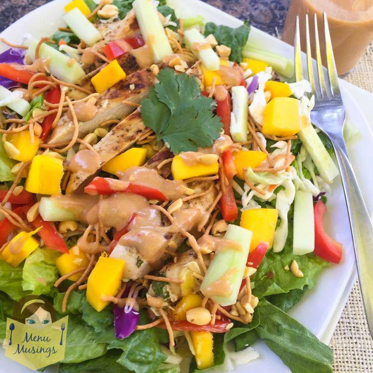 Thai Mango Chicken Salad, step-by-step cooking, easy salads, easy asian cooking, easy thai cooking, thai peanut sauce, chicken skewers, clean eating salads, gluten free salads,