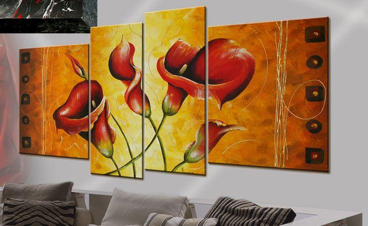 Quadro moderno fiori raffigurante calle rosse dipinto modulare olio su tela con decorazioni in foglia oro. 4 pezzi che formano un unico quadro