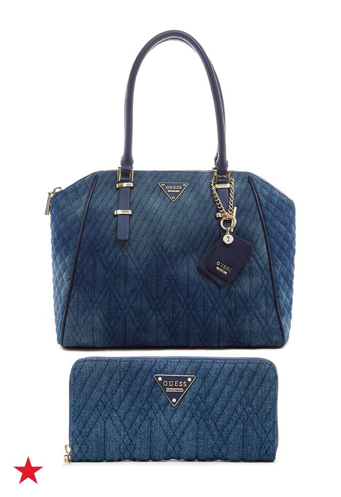 "A gracefully curved shape pairs with gleaming details on this modern-ladylike Marisole satchel by Guess. | Denim or faux leather (varies by color); trim and handles: faux leather | Imported | 15-3/4""W"